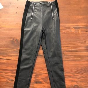 Leather pants with suede stripes
